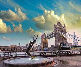 Обои Великобритания Мосты Фонтаны Лондоне