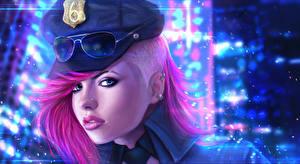 Фото LOL Смотрят Очков Шляпе Полицейский Officer Vi Игры Девушки