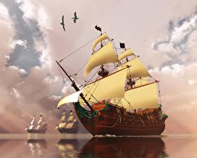 Фото Корабли Парусные Море Небо Облачно 3D Графика