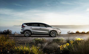 Картинки Renault Серебристый Сбоку 2015 Espace Автомобили