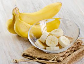 Фотография Фрукты Бананы Тарелка Еда