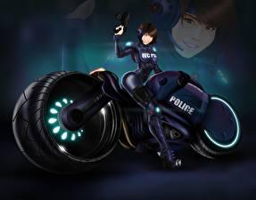 Обои Техника Фэнтези Мотоциклист Наушники Фэнтези Мотоциклы Девушки фото
