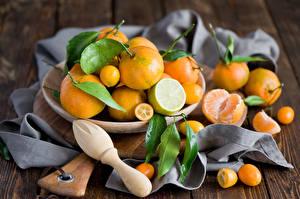 Обои Мандарины Лимоны Цитрусовые Тарелка Пища