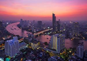 Фотографии Таиланд Небоскребы Речка Рассветы и закаты Бангкок Мегаполис Города