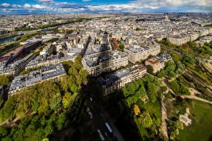 Фотография Франция Дома Париже Мегаполиса Сверху город