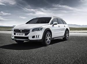 Фотографии Peugeot Белые Металлик Гибридный автомобиль 2014 508 RXH Hybrid4 авто
