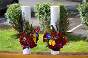 Картинка Букет Роза Лизантус Орхидея Каллы Двое цветок