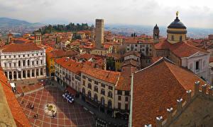 Фотография Италия Дома Сверху Bergamo Города