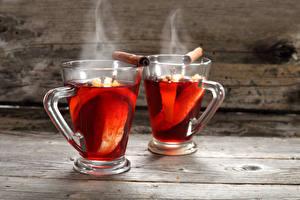 Фотографии Напиток Чай Стакан Два Пар Пища