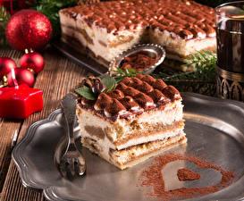 Картинки Сладости Торты Праздники Новый год Вилка столовая Еда