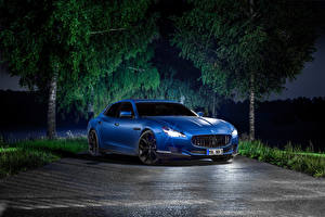 Обои Мазерати Тюнинг Дороги Голубой Ночь Люксовые 2014 Quattroporte (Novitec) Автомобили