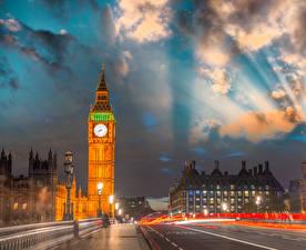 Фотография Великобритания Небо Здания Лондоне Улиц Биг-Бен Ночью Облачно город