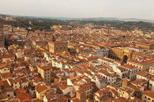 Фото Италия Дома Флоренция Сверху Города