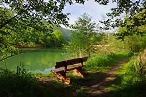 Картинка Швейцария Озеро Тропа Скамья Perolles Природа