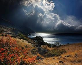 Обои Россия Побережье Небо Крым Облака Природа