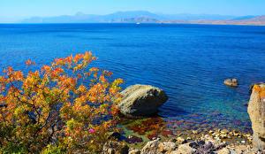 Картинки Россия Море Берег Камни Крым Природа