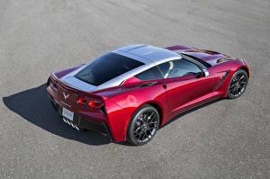 Фотографии Chevrolet Стайлинг Бордовый Металлик Сзади 2014 Corvette C7 Stingray (Paul Stanley) Машины