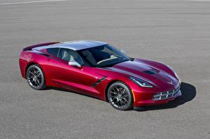 Фотография Chevrolet Тюнинг Бордовый Металлик 2014 Corvette C7 Stingray (Paul Stanley) Машины