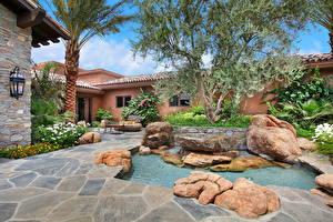 Обои США Ландшафт Фонтаны Калифорния Кусты Дизайн Rancho Mirage Города фото