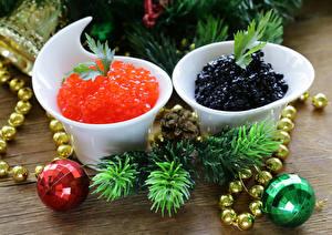 Фото Новый год Морепродукты Икра Ветки Шарики