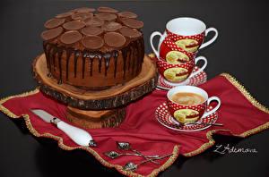 Фотографии Сладости Торты Кофе Нож Чашке Пища