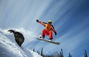 Фотография Лыжный спорт Сноуборд Небо Снег Шлем Очки