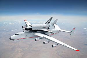 Фотографии Самолеты Небо Транспортный самолёт Белые Buran Antonov An-225 Mriya