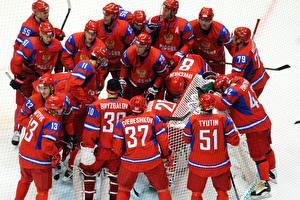 Фото Хоккей Мужчины Много Униформа Шлем Красный