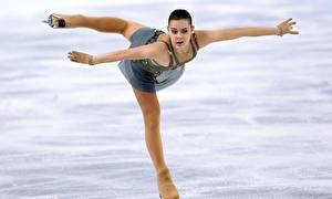 Фотографии Брюнетка Лед Униформа Ноги Колготки Adelina Sotnikova Sochi 2014