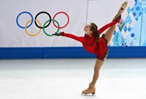Картинки Лед Шатенка Униформа Ноги Колготки Sochi 2014 Julia Lipnitskaya Девушки