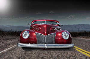 Фотографии Ford Винтаж Дороги Фары Спереди Красный Автомобили