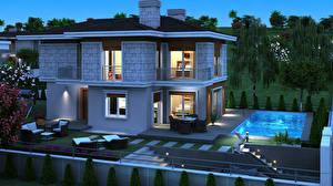 Картинки Здания Дизайн Плавательный бассейн Ночные Особняк 3D Графика