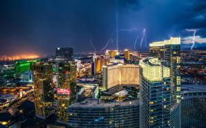 Фото Штаты Небоскребы Лас-Вегас Ночь