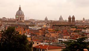 Обои Италия Дома Рим Сверху Города фото