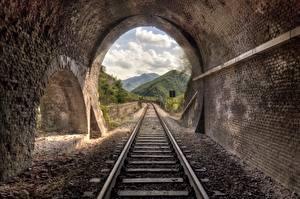 Обои для рабочего стола Железные дороги Рельсах Туннель