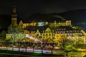 Картинка Германия Здания Дороги Кохем Ночь