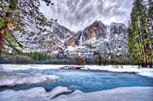 Фотография Америка Парки Времена года Зимние Гора Озеро Йосемити HDRI Природа