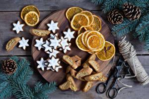 Обои Выпечка Печенье Лимоны Ветки Шишки Еда фото