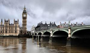 Картинка Великобритания Дома Реки Мосты Лондоне Биг-Бен Города