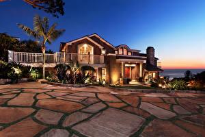 Обои Дома Ландшафт Особняк Дизайн Ночь Города фото
