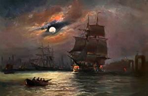 Фотография Картина Парусные Корабль Облачно Луна Alfred Jansen