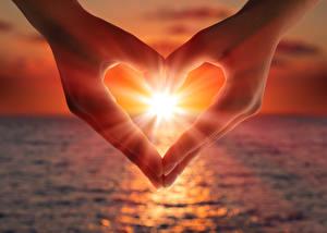 Фото Рассветы и закаты День всех влюблённых Руки Сердце Природа