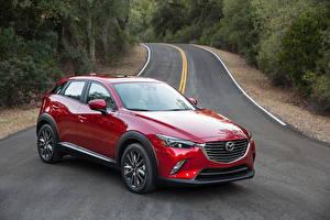 Картинки Mazda Дороги Красный Металлик 2015 CX-3 Автомобили