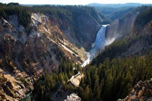 Фотографии США Парки Горы Леса Водопады Пейзаж Йеллоустон Природа