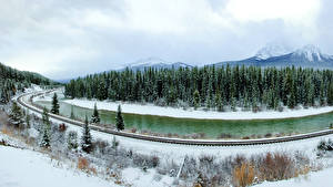 Фотография Канада Парк Сезон года Зимние Лес Река Пейзаж Банф Снег Природа