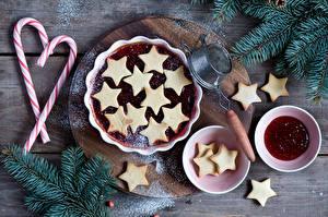 Картинка Праздники Новый год Выпечка Печенье Варенье Ветки Еда