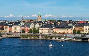 Картинки Швеция Дома Реки Стокгольм Города