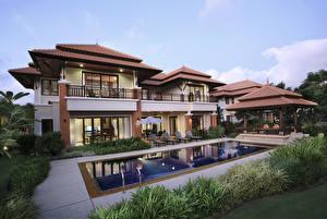 Фото Таиланд Дома Особняк Плавательный бассейн Phuket город