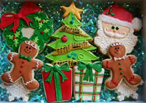 Фотография Праздники Рождество Печенье Санта-Клаус Елка Продукты питания