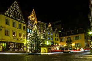 Обои Германия Дома Праздники Новый год Кохем Улице Елка Ночь